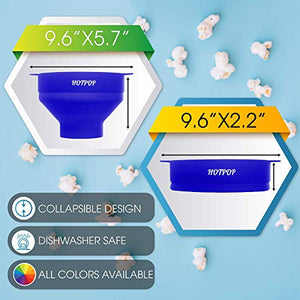 The Original Hotpop Microwave Popcorn Popper, Silicone Popcorn Maker, Collapsible Bowl Bpa Free and Dishwasher Safe - 12 Colors Available (Blue) SYNCHKG118887