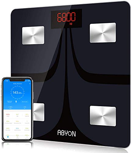 ABYON Upgraded Version Bluetooth Smart Digital Scales for Body Weight Bathroom Scale Body Fat BMI Scale,Auto Body Composition Analyzer with Smartphone APP,Best Fitness Weight Loss Scale Health Monitor 8541791595 12 x 12 x 1 in Black