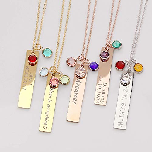 MignonandMignon Birthstone Gold Necklaces for Women Gemstone Jewelry Graduation Gift for Her Emerald Necklace Birthstone Gift Family Tree Necklace - 8N-BS gold, silver, rose gold