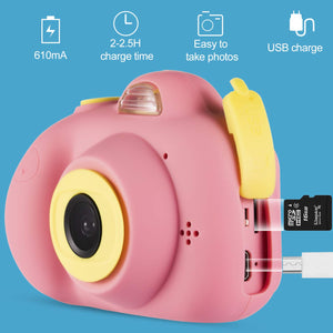omzer Gift Kids Camera Toys for Girls, Cute Children Cameras Mini Camcorder for 3-8 Years Old Girl with 8MP HD Video Lens Great for Shooting, Deep Pink(16GB Memory Card Included)