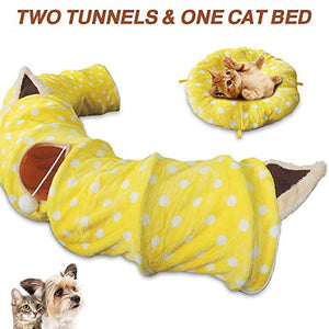 "HOMEYA Cat Dog Tunnel Bed with Mat, Metacrafter Collapsible 3 Way Cat Tube Condo Play Toy with Peek Hole Fun Ball Indoor Outdoor Interactive Hideout Exercising House Toys for Pet Kittens Kitty Puppy 8FT 98""x10""x10"" Yellow"