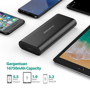 Portable Charger RAVPower 16750 Updated Phone Charger Battery 16750mAh Power Banks (4.5A Dual USB Output, iSmart 2.0 Tech) Phone Battery Pack for iPhone XS, iPhone X, iPad, Android Devices CA-RP-PB010-B Black