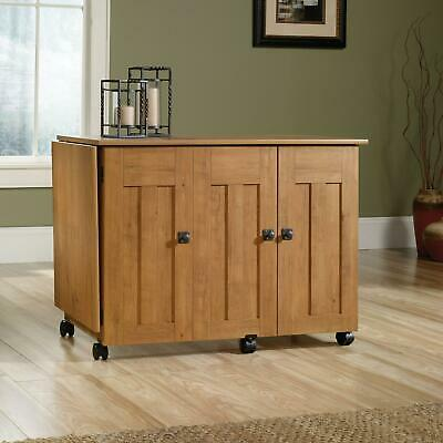 Sauder Sewing And Craft Table, Amber Pine Finish