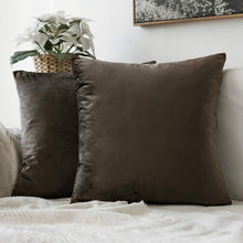 Load image into Gallery viewer, MIULEE Pack of 2 Decorative Velvet Pillow Covers Soft Square Throw Pillow Covers Soild Cushion Covers Pillow Cases for Sofa Bedroom Car 16 x 16 Inch 40 x 40 cm Dark Coffee