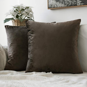 MIULEE Pack of 2 Velvet Pillow Covers Decorative Square Pillowcase Soft Solid Cushion Case for Sofa Bedroom Car 12 x 12 Inch Dark Coffee