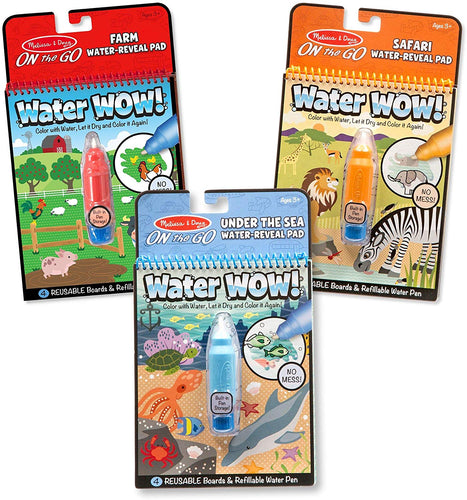 Melissa & Doug Water Wow! 3-Pack (The Original Reusable Water-Reveal Coloring Books - Farm, Safari, Under the Sea - Great Gift for Girls and Boys - Best for 3, 4, 5, 6, and 7 Year Olds)