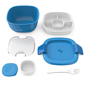 Bentgo Salad BPA-Free Lunch Container with Large 54-oz Salad Bowl, 3-Compartment Bento-Style Tray for Salad Toppings and Snacks, 3-oz Sauce Container for Dressings, and Built-In Reusable Fork (Blue) BGOSAL-B