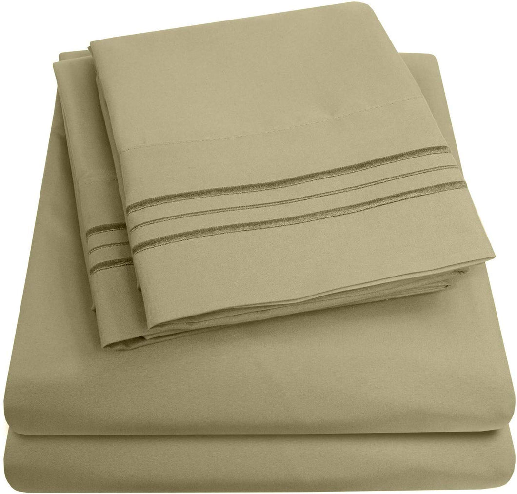 1500 Supreme Collection Extra Soft Queen Sheets Set, Sage - Luxury Bed Sheets Set With Deep Pocket Wrinkle Free Hypoallergenic Bedding, Over 40 Colors, Queen Size, Sage