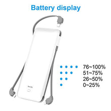 Load image into Gallery viewer, LEZCHI Portable Power Bank, Ultra Slim 10000mAh Portable Charger, USB C External Battery Pack with Built-in AC Plug, Charging Cable, Output Port, Compatible with Android, iPhone and Other Cellphones PB147AC 6.3*0.6*3 IN White