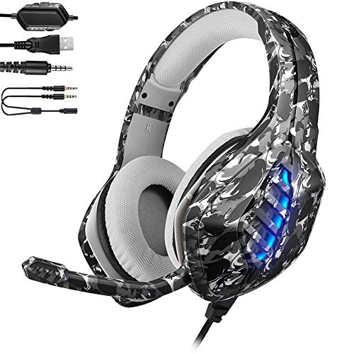YJY Gaming Headset for PS4,PC, Xbox One Controller,Noise Cancelling Over Ear Headphones with Mic, 7 Colors LED Light, Bass Surround, Soft Memory Earmuffs for Laptop Mac Nintendo Switch Games,Coma CAYJYJIM1