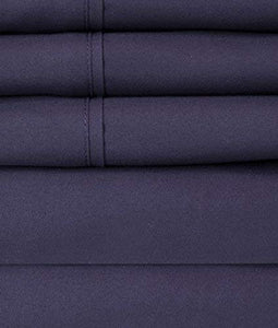 King Size Bed Sheets - 6 Piece 1500 Thread Count Fine Brushed Microfiber Deep Pocket King Sheet Set Bedding - 2 Extra Pillow Cases, Great Value, King, Navy