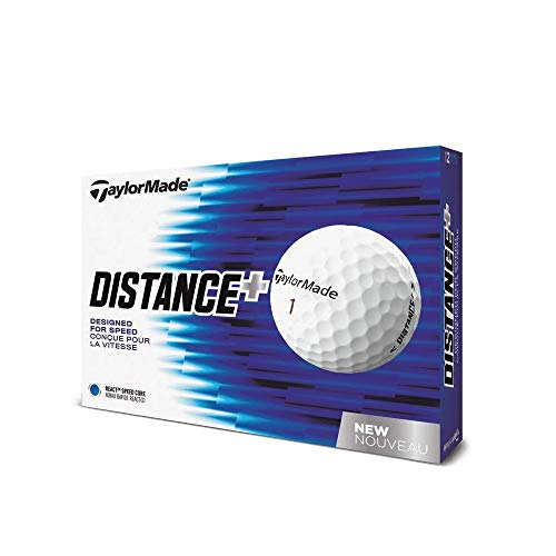 TaylorMade 2018 Distance+ Golf Ball, White (One Dozen) B1355601 Large