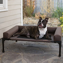 "Load image into Gallery viewer, K&H Pet Products Original Bolster Pet Cot Elevated Pet Bed with Removable Bolsters - Chocolate/Black Mesh, Medium 25 X 32 X 7 Inches 100213498 Medium (25"" x 32"" x 7"")"