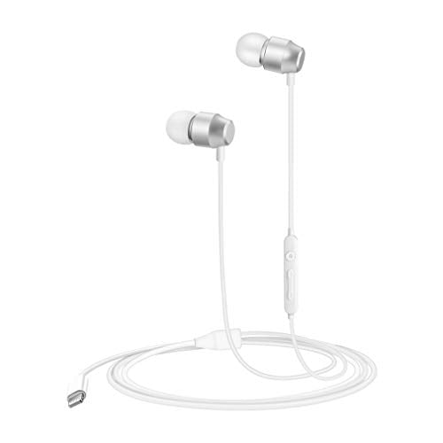 PALOVUE Lightning Headphones Earphones Magnetic Earbuds in-Ear MFi Certified with Microphone Controller Compatible iPhone 11 Pro Max iPhone X XS XR iPhone 7 8 Plus Earflow (Metallic Silver) Metallic White
