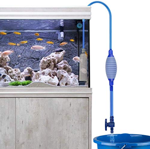 Number-one Fish Tank Cleaner, Aquarium Water Changer Gravel Filter Aquarium Siphon Vacuum Pump Water Changing Sand Washing Adjustable Water Flow with Inbuilt Strainer Outlet Valve Pumping Airbag Blue