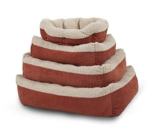 "Petmate Aspen Pet Self-Warming Corduroy Pet Bed Several Shapes Assorted Colors 80135 19.5"" Barn Red/Cream"