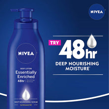 Load image into Gallery viewer, NIVEA Essentially Enriched Body Lotion - 48 Hour Moisture For Dry to Very Dry Skin - 16.9 fl. oz. Pump Bottle