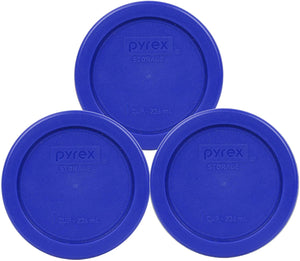Pyrex 7202-PC 1 Cup Cadet Blue Plastic Replacement Lids - 3 Pack