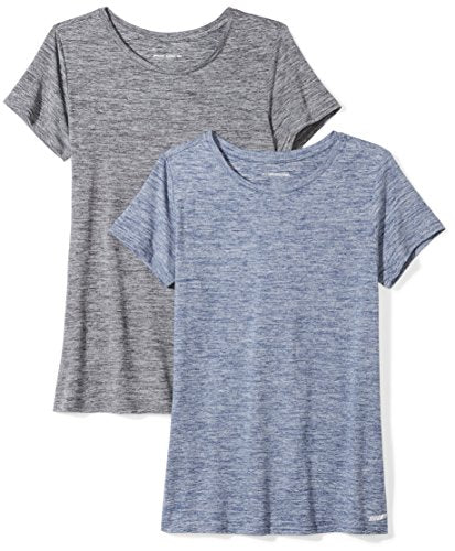 Essentials Women's 2-Pack Tech Stretch Short-Sleeve Crewneck T-Shirt, -black heather/navy heather, Small AZ0002