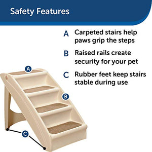 PetSafe Solvit PupSTEP Plus Pet Stairs, Foldable Steps for Dogs and Cats, Best for Small to Medium Pets 62460 STANDARD