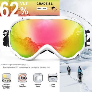 ZIONOR Lagopus Ski Snowboard Goggles UV Protection Anti Fog Snow Goggles for Men Women Youth
