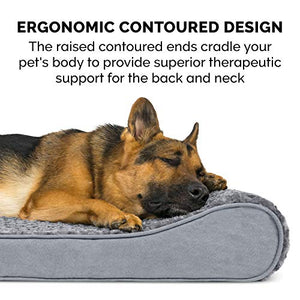 Furhaven Pet Dog Bed | Orthopedic Ultra Plush Faux Fur Ergonomic Luxe Lounger Cradle Mattress Contour Pet Bed w/ Removable Cover for Dogs & Cats, Gray, Jumbo 31535087BX Plush Gray