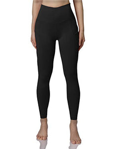 ODODOS Women's High Waist Yoga Pants with Pockets,Tummy Control,Workout Pants Running 4 Way Stretch Yoga Leggings with Pockets,Black,X-Small YogaPocketPants715-Black3-XS