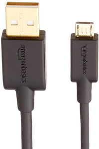 Basics USB 2.0 A-Male to Micro B Charging Cable - 10 Feet, Black, 5-Pack