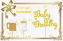 Load image into Gallery viewer, JeVenis Set of 25 Baby Is Brewing Cake Topper Baby Is Brewing Baby Shower Cupcake Toppers Beer Cupcake Toppers Beer Themed Baby Shower Decor Beer Baby Gender Reveal Decoration