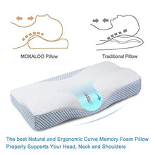 Load image into Gallery viewer, MOKALOO Cervical Pillow, Memory Foam Pillow for Sleeping, Bed Pillow for Neck Pain, Orthopedic Contour Pillow with Pillowcase, for Side, Back and Stomach Sleepers (Standard Size) White & Blue