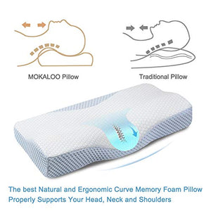 MOKALOO Cervical Pillow, Memory Foam Pillow for Sleeping, Bed Pillow for Neck Pain, Orthopedic Contour Pillow with Pillowcase, for Side, Back and Stomach Sleepers (Standard Size) White & Blue