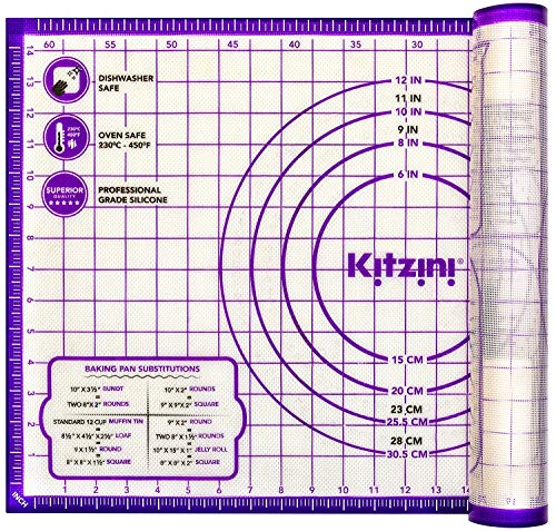 Kitzini Pastry Mat Silicone Non Slip – Large Thick Non Stick Silicone Baking Fondant Mat - Rolling Dough, Pie Crust, Pizza and Cookies – Easy Clean Kneading Mat With Measurements – 16 x 26 Inch 8541883752 L - 16