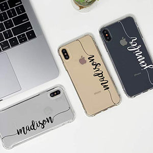 marblefyofficial MARBLEFY Personalized Handwriting Name Shockproof Protective Case for iPhone 11/11 Pro/Xs/Xr/X/8/7/6/Plus/Max protective custom name case Crystal Clear, Transparent