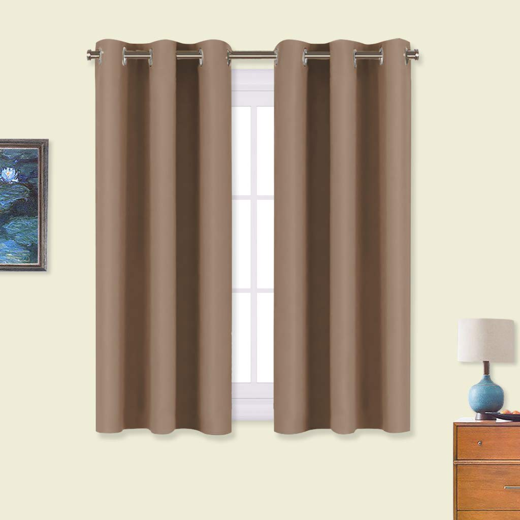 NICETOWN Window Draperies Blackout Curtain Panels, Window Treatment Thermal Insulated Solid Grommet Blackout Drapes for Bedroom (One Pair, 34 by 54 inches, Cappuccino)