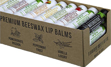 Load image into Gallery viewer, All-Natural Beeswax Lip Balm Gift Set by Naturistick. Pack of 36 in Counter Display Box. Made with Healing Aloe Vera, Vitamin E, Coconut Oil. Best Beeswax Chapstick in Bulk. Made in USA