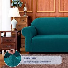 Load image into Gallery viewer, subrtex Stretch Sofa Cover 1-Piece Couch Slipcover Furniture Protector for Arm Chair Loveseat Coat Soft with Elastic Bottom, Polyester and Spandex Jacquard Fabric Small Checks (Large, Turquoise) sofa cover 15