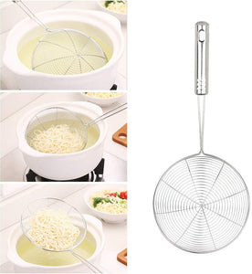 Swify Spider Set of 3 Asian Strainer Ladle Stainless Steel Wire Skimmer Spoon with Handle for Kitchen Frying Food, Pasta, Spaghetti, Noodle-30.5cm, 32cm, 35cm