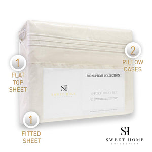 1500 Supreme Collection Extra Soft Queen Sheets Set, Ivory - Luxury Bed Sheets Set with Deep Pocket Wrinkle Free Hypoallergenic Bedding, Over 40 Colors, Queen Size, Ivory