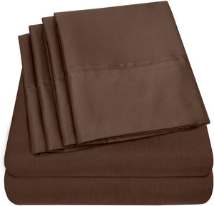 Sweet Home Collection Bed 6 Piece 1500 Thread Count Deep Pocket Sheet Set - 2 EXTRA PILLOW CASES, VALUE, Queen, Brown