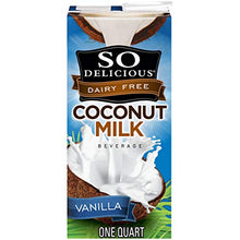 Load image into Gallery viewer, So Delicious Dairy Free Coconut Milk Beverage Vanilla 32 Ounce, Dairy Soy and Almond Alternative Vanilla Milk Drink, Shelf-Stable Aseptic Packaging 103413