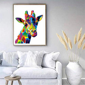 Komking Paint by Numbers for Adult, DIY Paint by Number Kits for Kids Beginner on Canvas Painting, Colorful Giraffe 16x20inch ABCD