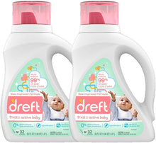 Load image into Gallery viewer, Dreft Stage 2: Active Hypoallergenic Liquid Baby Laundry Detergent for Baby, Newborn, or Infant, 50 Ounces(32 Loads), 2 Count (Packaging May Vary)