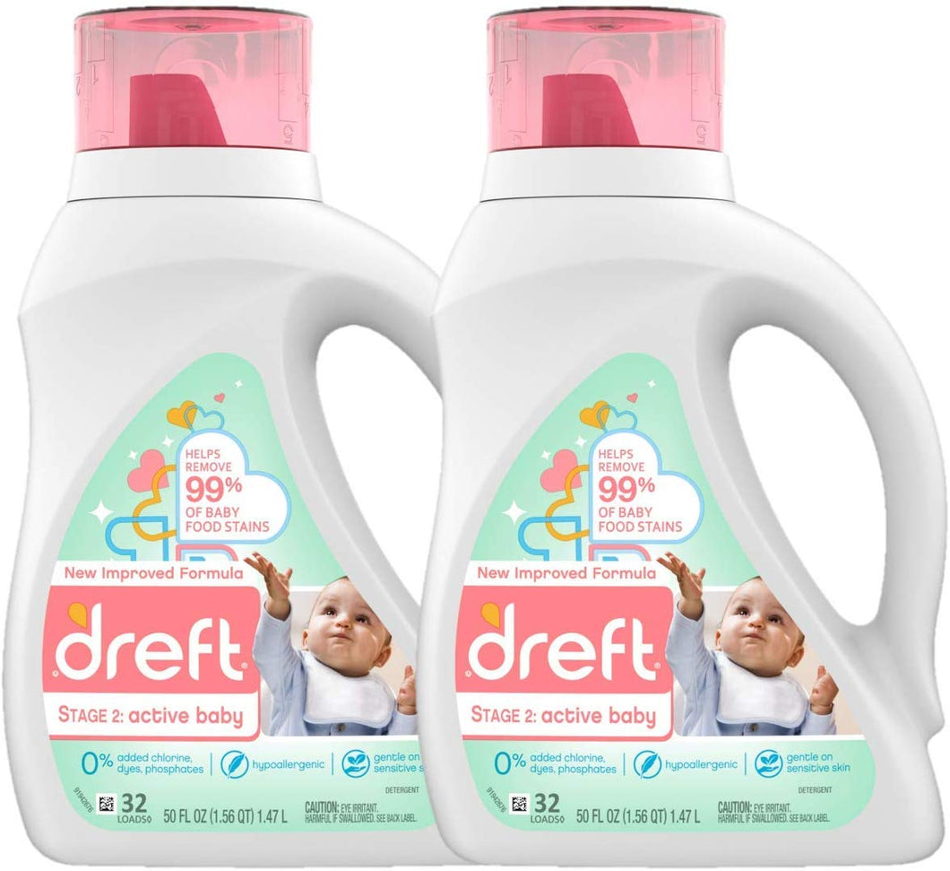 Dreft Stage 2: Active Hypoallergenic Liquid Baby Laundry Detergent for Baby, Newborn, or Infant, 50 Ounces(32 Loads), 2 Count (Packaging May Vary)