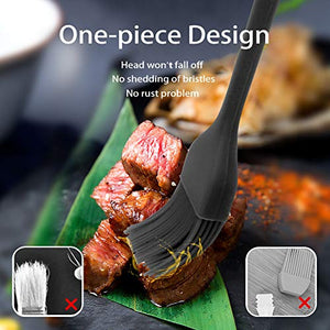 "Consevisen Silicone Basting Pastry Brush Spread Oil Butter Sauce Marinades for BBQ Grill Baking Kitchen Cooking, Baste Pastries Cakes Meat Sausages Desserts, Food Grade, Dishwasher safe Basting Brushes 2 10.2"" and 8.2"" black, orange"