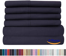 Load image into Gallery viewer, King Size Bed Sheets - 6 Piece 1500 Thread Count Fine Brushed Microfiber Deep Pocket King Sheet Set Bedding - 2 Extra Pillow Cases, Great Value, King, Navy