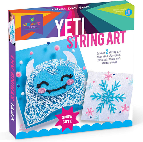 Craft-tastic - String Art Kit - Craft Kit Makes 2 String Art Canvases - Yeti & Snowflake Patterns