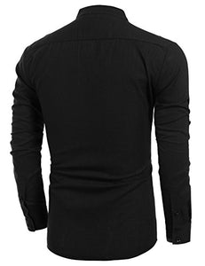 COOFANDY Men's Cotton Linen Henley Shirt Long Sleeve Hippie Casual Beach T Shirts (L, Black001) Large