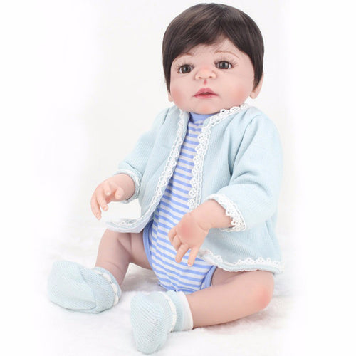 NPKDOLL 22 Inches Boy Doll Reborn Full Silicone Vinyl Body Newborn Babies Dolls toys for Children bebe gift bonecas Menina