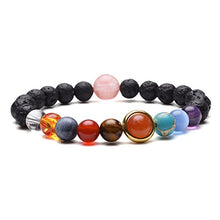 Load image into Gallery viewer, Jovivi Solar System Bracelet Universe Galaxy The Nine Planets Natural Lava Rock Beads Essentional Oil Diffuser Bracelet AJ101010100119 7 inches Gold Sun