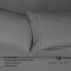 1500 Supreme Collection Extra Soft Twin Sheets Set, Gray - Luxury Bed Sheets Set with Deep Pocket Wrinkle Free Hypoallergenic Bedding, Over 40 Colors, Twin Size, Gray